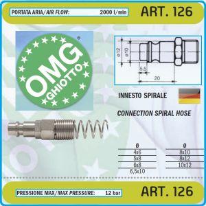 """Бърза връзка, за въздух, накрайник, за спирала, """"M"""", 3 размера, Ø6-8-10mm, OMG, 126"""