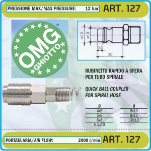 """Бърза връзка, за въздух, накрайник, за спирала, """"F"""", 3 размера, Ø8-10mm, OMG, 127"""