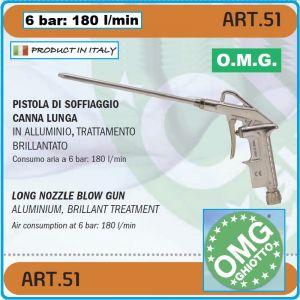 """Пистолет за обдухване, пневматичен, дълъг, """"L"""", 6Bar, 180l/min, OMG, 51"""