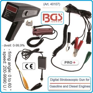 Стробоскоп, дигитален, дизел/бензин, 0-30V, оборотомер, к-т, BGS, 40107