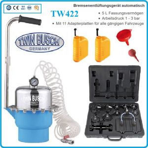 Обезвъздушаване на спирачки, пневматичен уред, к-т, 3Bar, 5L, TwinBusch, TW422