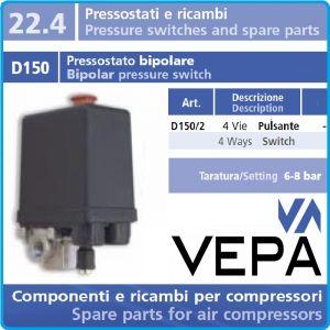 Пресостат, монофазен, автоматичен, 10Bar, 20A, 230V, Vepa, D150/2