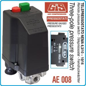 Пресостат със защита, трифазен, 12Bar, 6.3-23A, 400V, GIS, AE 008/11