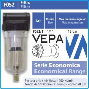 """Кондензоотделител с филтър, 1/4"""", 1050l/min, 20μm, 12Bar, Vepa, F052/1"""