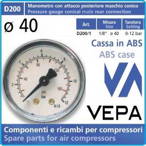 """Манометър аксиален, атмосферен, 0-12Bar, 1/8"""", Ø40mm, Vepa, D200/1"""