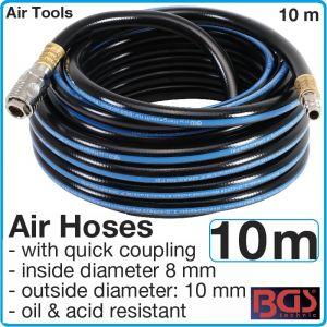 Маркуч за въздух, с бързи връзки, маслоустойчив, 10m, 20Bar, Ø8x10mm, BGS