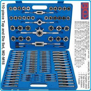 Метчици и плашки к-т, 110 части, за нарязване на резби, M2-M18, BGS, 1900