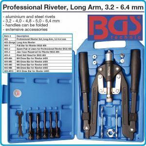 Попнитачка за нит гайки, сгъваема, PRO, М4-М10, 3.2-6.4mm, BGS, 405