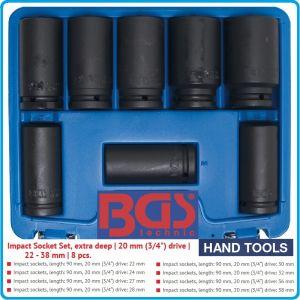 """Вложки ударни, удължени h90mm, комплект 8бр, 3/4"""", 22-38mm, BGS, 5241"""