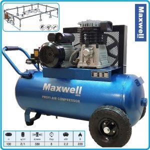 Компресор ремъчен, маслен, бутален, 100L, 330L/min, 8Bar, Maxwell, FA 30100