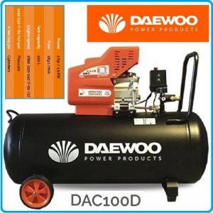 Компресор, маслен, бутален, директен, 100L, 170L/min, 8Bar, Daewoo, DAC100D
