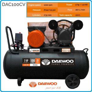 Компресор ремъчен, маслен, бутален, 100L, 190L/min, 8Bar, Daewoo, DAC100CV
