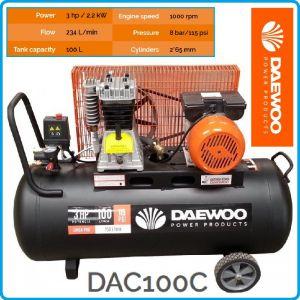 Компресор маслен, ремъчен, бутален, 100L, 290L/min, 8Bar, Daewoo, DAC100C