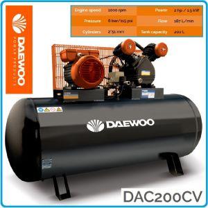Компресор маслен, ремъчен, бутален, 200L, 190L/min, 8Bar, Daewoo, DAC200CV