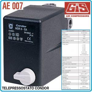 Пресостат със защита, трифазен, 12Bar, 10-16A, 400V, GIS, AE007-16