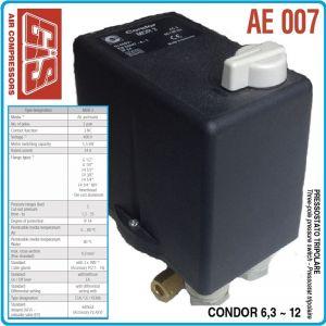 Пресостат със защита, трифазен, 12Bar, 6.3-10A, 400V, GIS, AE007-10