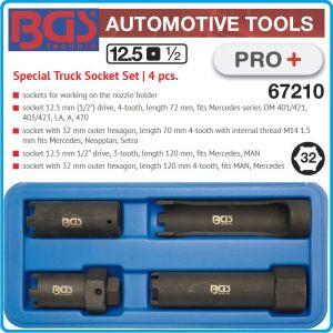 """Ключове за дюзи специални, к-т 4 броя, 1/2""""-32mm, h70-120mm, BGS, 67210"""