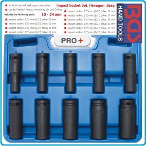 """Вложки ударни, удължени, комплект, 10части, 1/2"""", 10-24mm, BGS, 5206"""