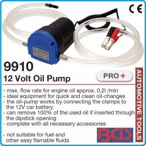 Помпа за масло, дизел, к-т с щипки за 12V, 5A, 60W, 0.2L/min, BGS, 9910