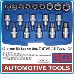 """Вложки с накрайници, к-т 19бр, Torx T20/70, E-Torx E10/24, 1/2"""", BGS, 5100"""