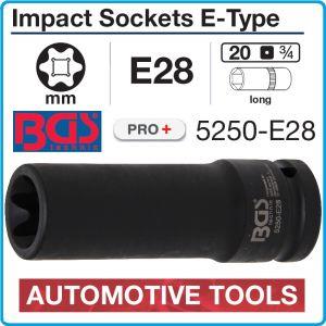 """Вложка ударна, 20mm, E-Torx 28, 3/4"""", h110mm, за SCANIA, BGS, 5250-E28"""