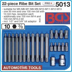 Накрайници с шлици, RIBE M5-14x10mm, шестограми к-т 22 броя, BGS, 5013