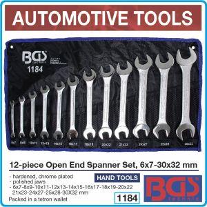 Ключове гаечни 12 броя, к-т от 6-32mm, двустранни CrV, BGS, 1184