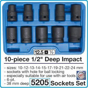 """Вложки ударни к-т 10бр, 1/2"""", 10-24mm, къси шестограмни, h38mm, BGS, 5205"""