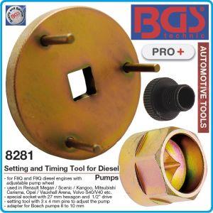 """Инструмент за дизелови помпи, диск 3 палцов 1/2"""", за F8/9Q, к-т, BGS, 8281"""
