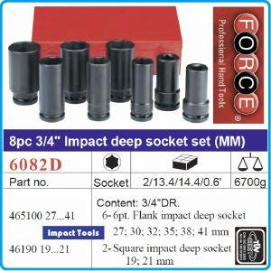 """Вложки ударни дълги, к-т h100mm 6+2ч, 3/4"""", 27-41mm, Q19/21mm, Force, 6082D"""