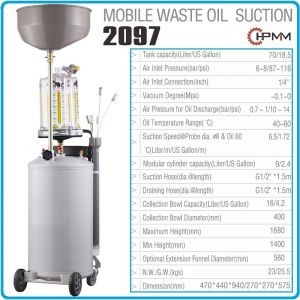 Помпа, за масло, шприц, с вана и стъкленица, 6.5l/min, 70l, HPMM, 2097