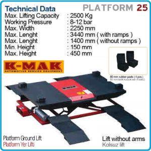 Крик - платформа за гуми, пневматичен подемник 2.5t, K-MAK, PLATFORM 25