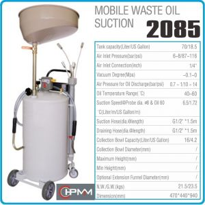Помпа, за изсмукване, шприц, за масло, с вана, 6.5l/min, 65l, HPMM, HP2085