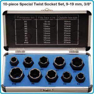 """Екстрактори за гайки и винтове от 9-19mm, к-т 10ч на 3/8"""", BGS, 20210"""
