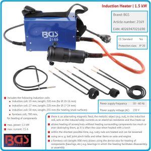 Индукционен нагревател за детайли к-т, 230V, 1.5kW, BGS 2169