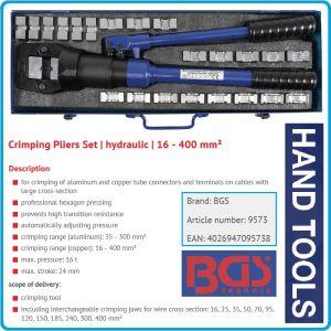 Клещи за кримпване, хидравлични, к-т от 16-400mm², 16Ton, 24mm, BGS, 9573