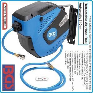 Маркуч за въздух PVC, с автоматична макара, 10m, 20Bar, BGS, 3297