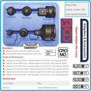 """Адаптори ударни, комплект 6 бр, закалени преходи от 1/4""""-3/4"""", 6.3-20mm, BGS, 200"""