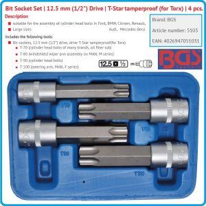 """Вложки с накрайници, к-т 4бр, Torx T70H/100H, дълги перфорирани, 1/2"""", BGS, 5103"""