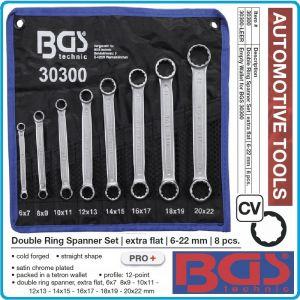Ключове звезди, двустранни прави, к-т 8 части, CrV, от 6-22mm, BGS, 30300