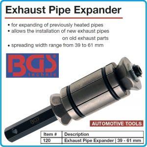 Експандер / разширител за тръби, аспухови / изпускателни, от Ø39 - Ø61mm, BGS, 120