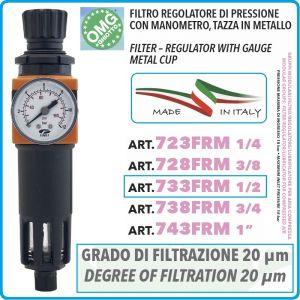 """Филтър с регулатор и манометър, кондензоотделител на 1/2"""", 18Bar, 2000l/min, OMG, 733FRM"""