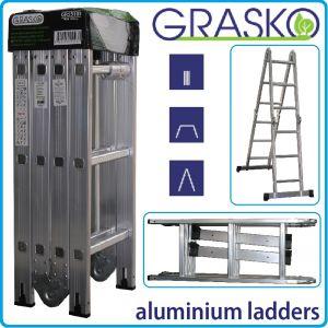 Стълба, алуминий, мултифункционална, 4x3, сгъваема, 3.6m, Grasko, GR55103