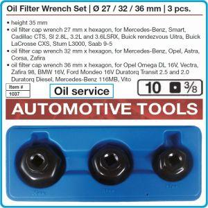 Ключове за маслен филтър, h35mm, универсални 3 части к-т, Ø27/32/36mm, BGS, 1037