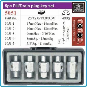 Ключове за пробки к-т 5 части, ключове за картер 21mm, Force, 5051