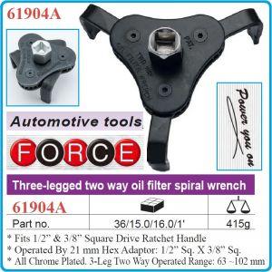 """Ключ за маслен филтър 3 челюстен, Ø63-102mm, 3/8"""" и 1/2"""", Force, 61904A"""