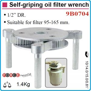 """Ключ за маслен филтър 3 челюстен, Ø95-165mm, sq 1/2"""", Force, 9B0704"""