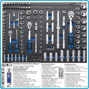 """Модул с инструменти 3/3, вложка за количка, 192бр к-т Pro Torque® от 4-32mm на 1/4"""", 3/8"""" и 1/2"""", BGS, 4036"""