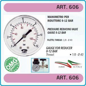 """Манометър атмосферен, аксиален, 0-12Bar, 1/8"""", Ø40mm, OMG, 606."""