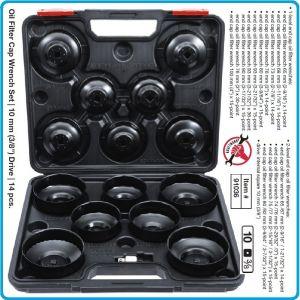 """Ключове за маслен филтър, захват 3/8"""", 14бр к-т, на 1 и 2 нива, Ø65-100mm, BGS, 91036."""